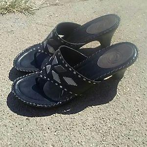 Nurture black Aztec design sandal